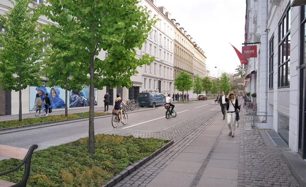 Rømersgade nye træer bredere fortove.