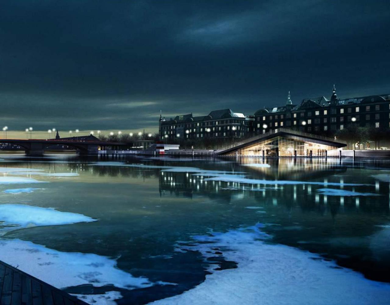 Vinterbad bryggen nat