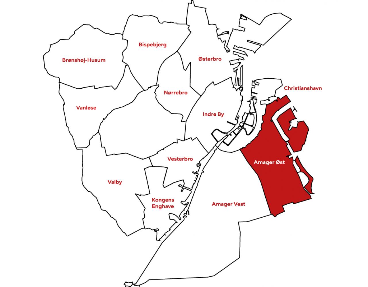 Bydelskort amager øst kommuneplan 2019
