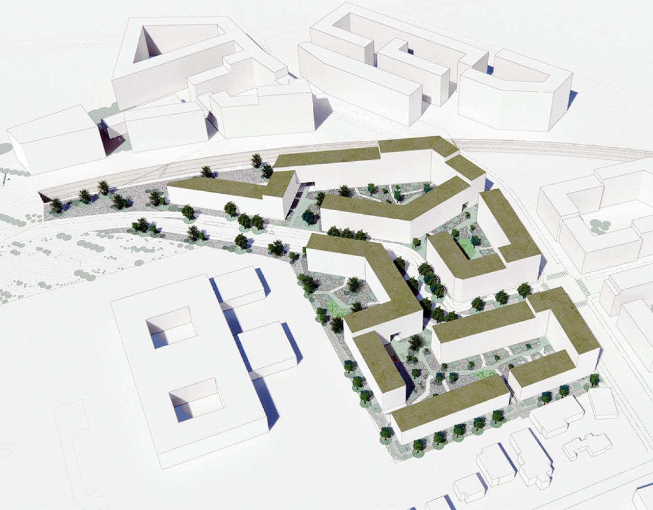 visualisering af kulbaneparkens nye boligområde