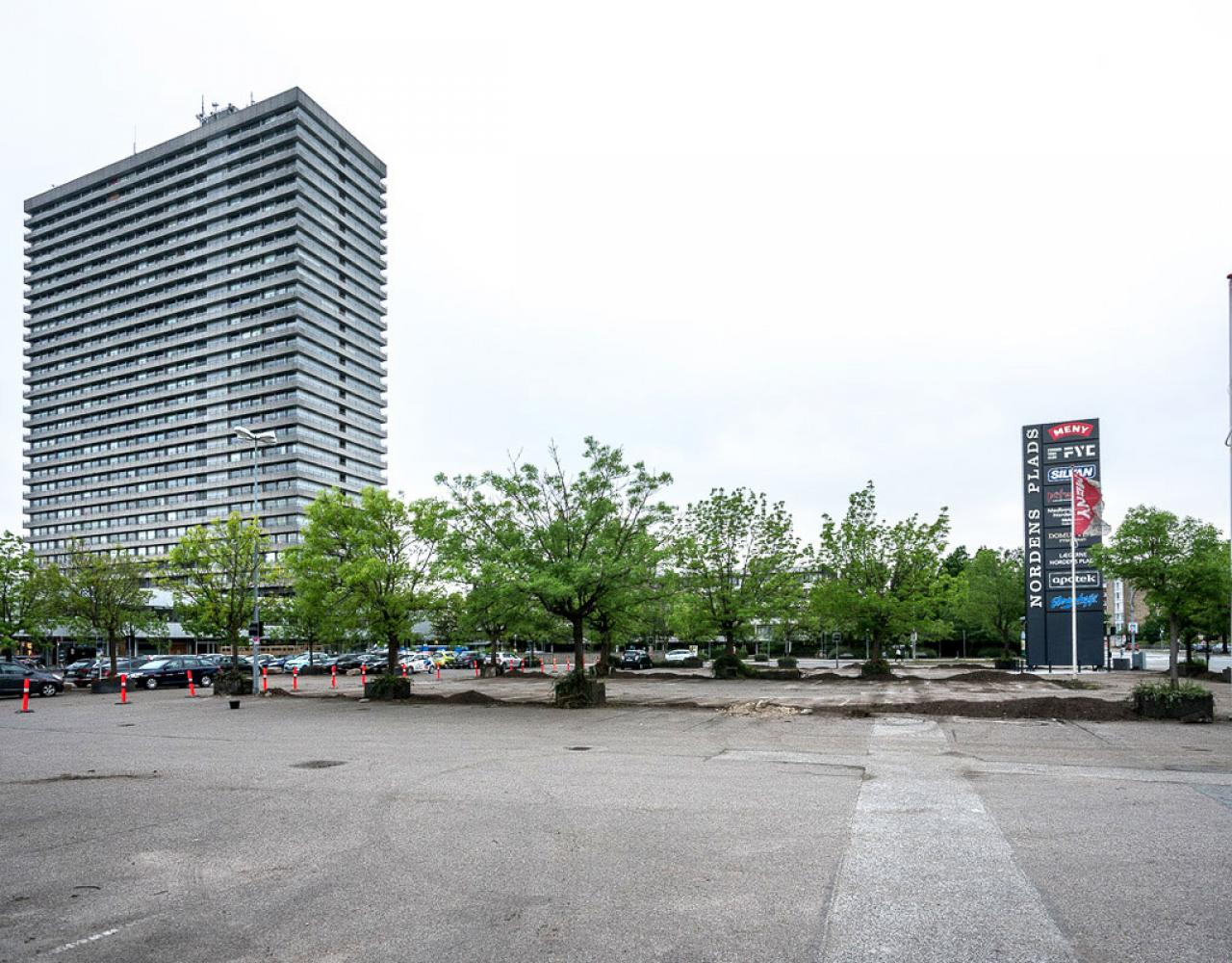 Nordens Plads asfalt træer