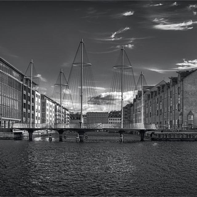 Canals of Copenhagen. Cirkelbroen Bridge