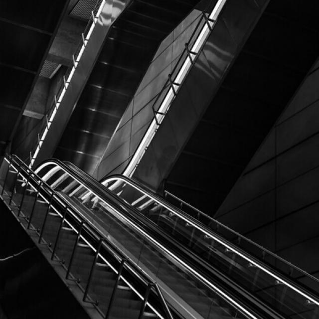 Escalators at a metro station.