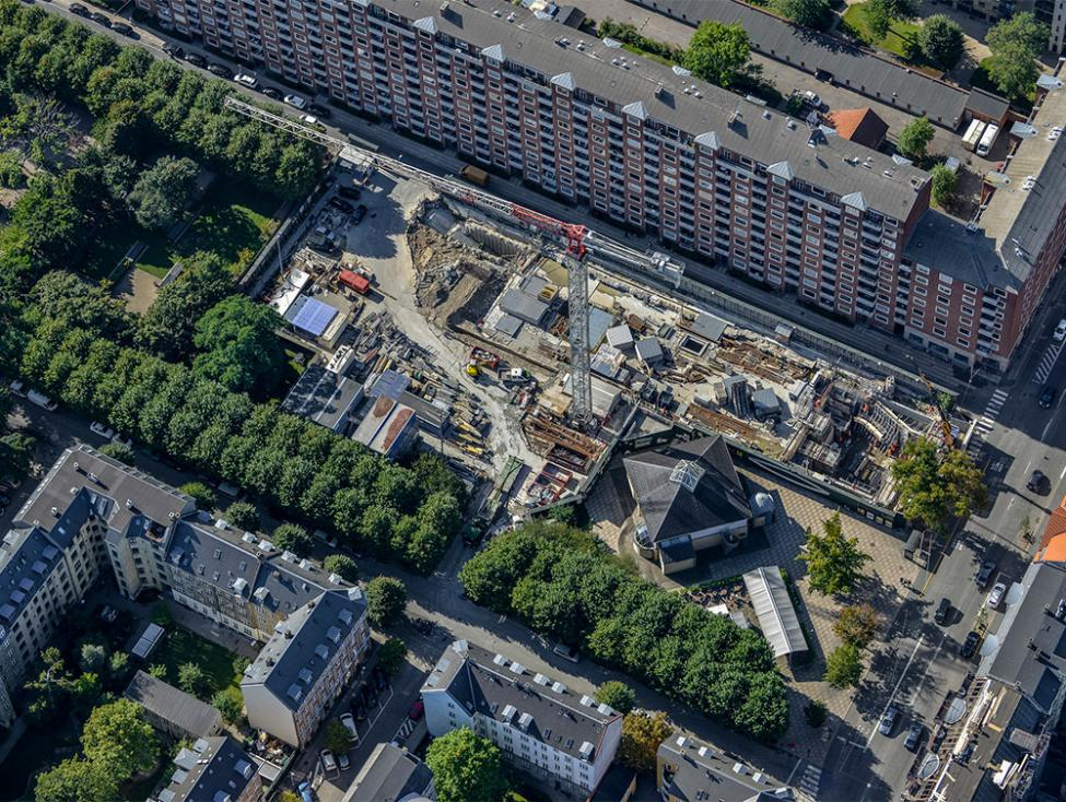 Aksel Møllers Have metrobyggeplads luftfoto
