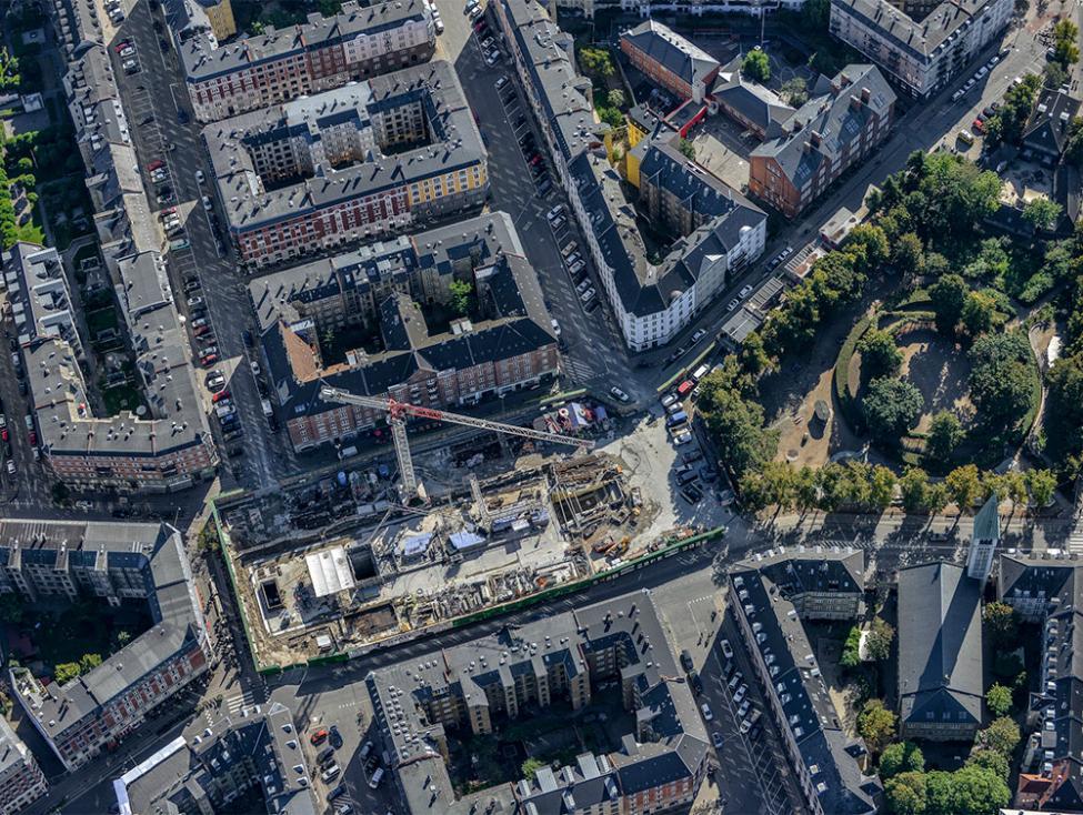 Enghave Plads metrobyggeplads luftfoto