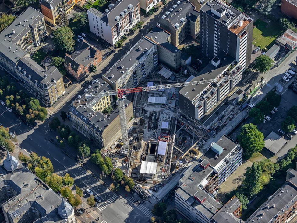 Frederiksberg Allé metrobyggeplads luftfoto