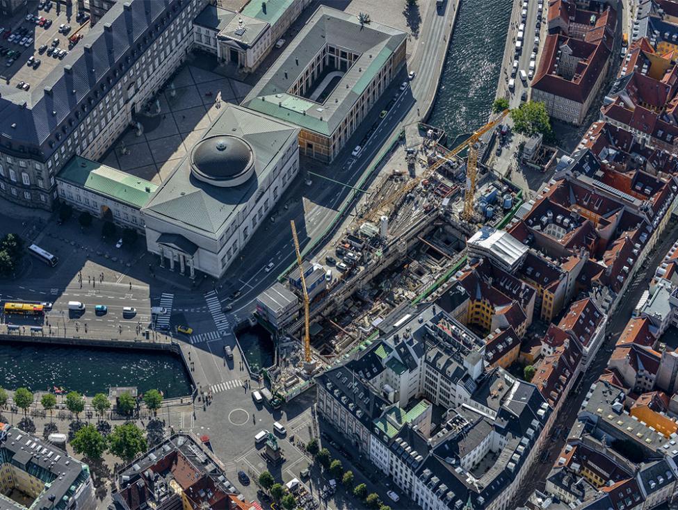 Gammel Strand metrobyggeplads luftfoto