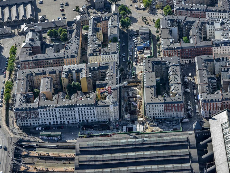 hovedbanegården metrobyggeplads luftfoto
