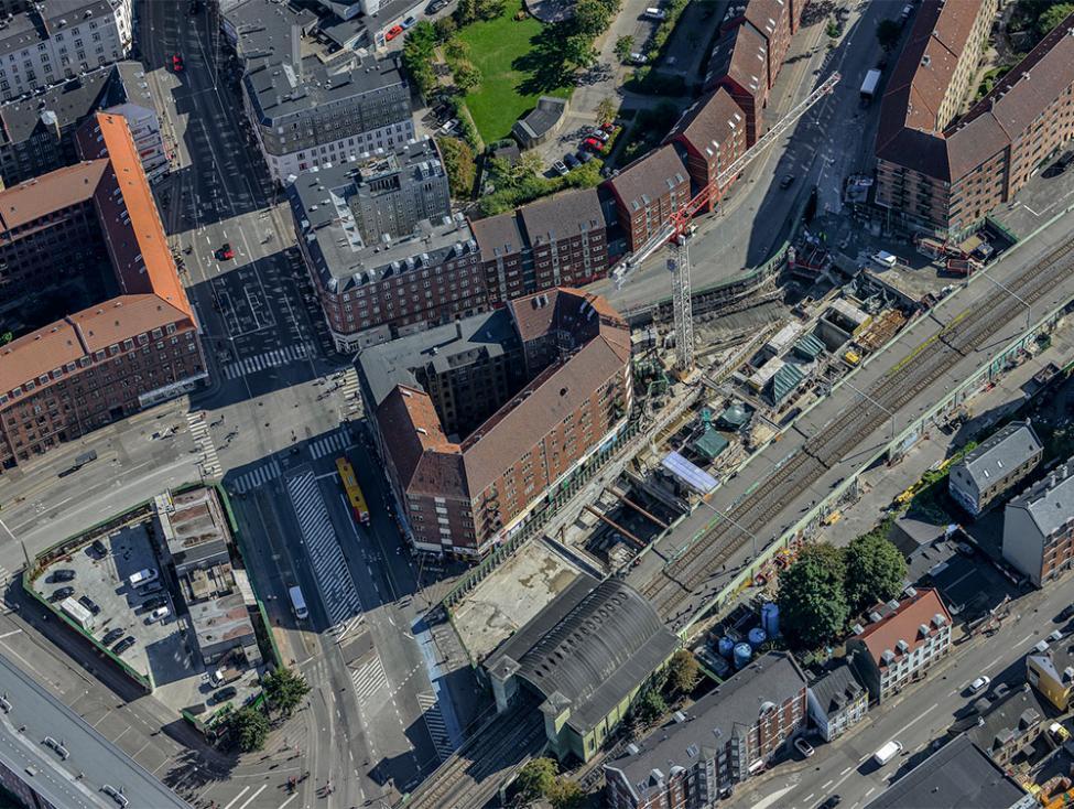 nørrebro station metrobyggeplads luftfoto