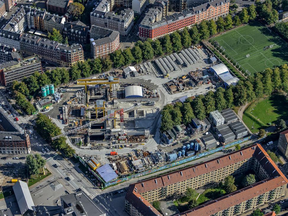 Nørrebroparken metrobyggeplads luftfoto