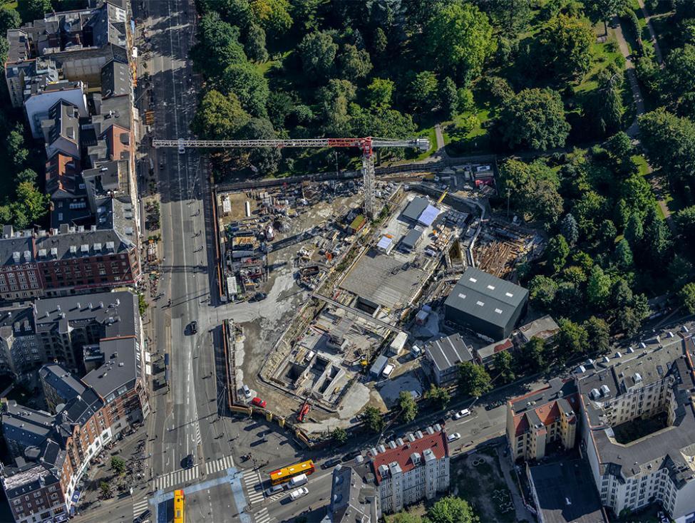 Nørrebros Runddel metrobyggeplads luftfoto