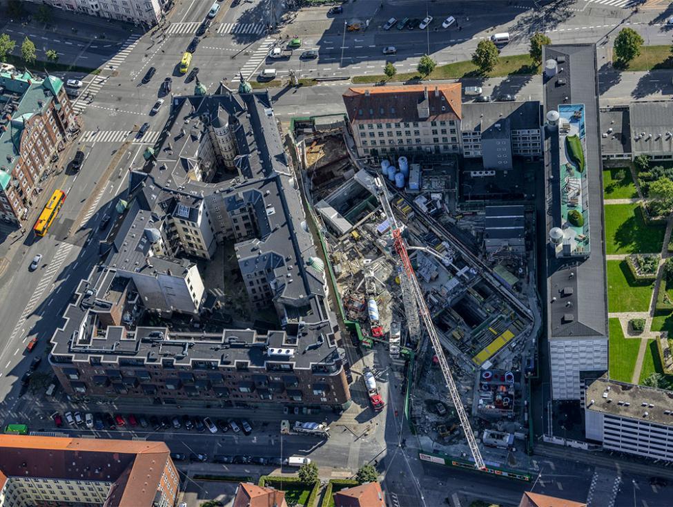 Poul Henningsens Plads metrobyggeplads luftfoto