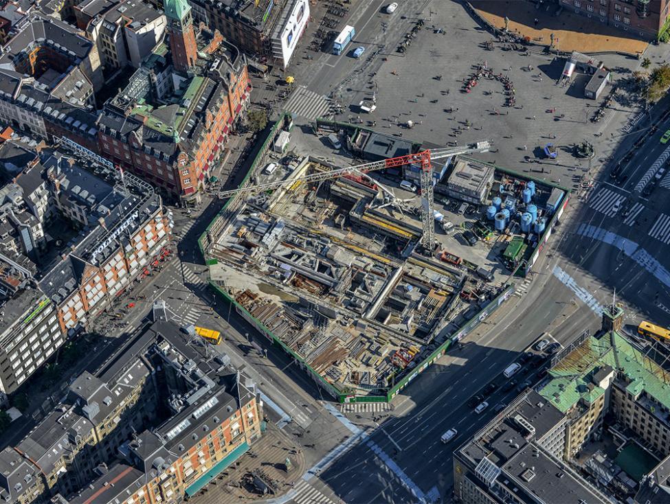 københavns rådhusplads metrobyggeplads luftfoto