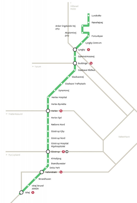 hovedstadens letbane rutekort