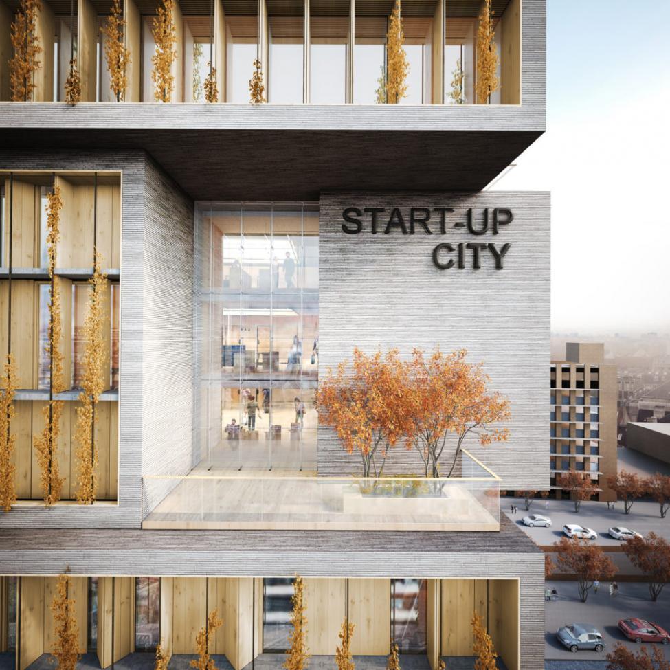 start-up city facade