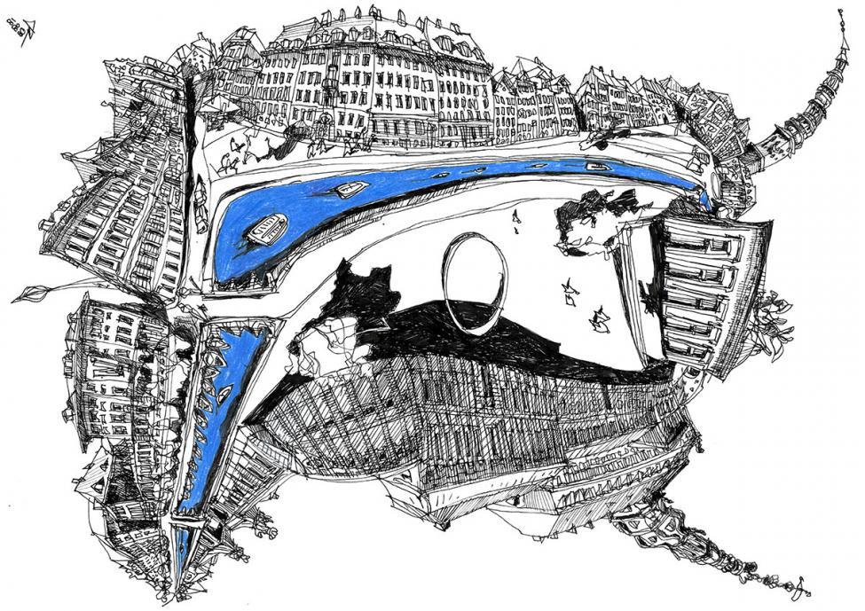 Gammel Strand tegning
