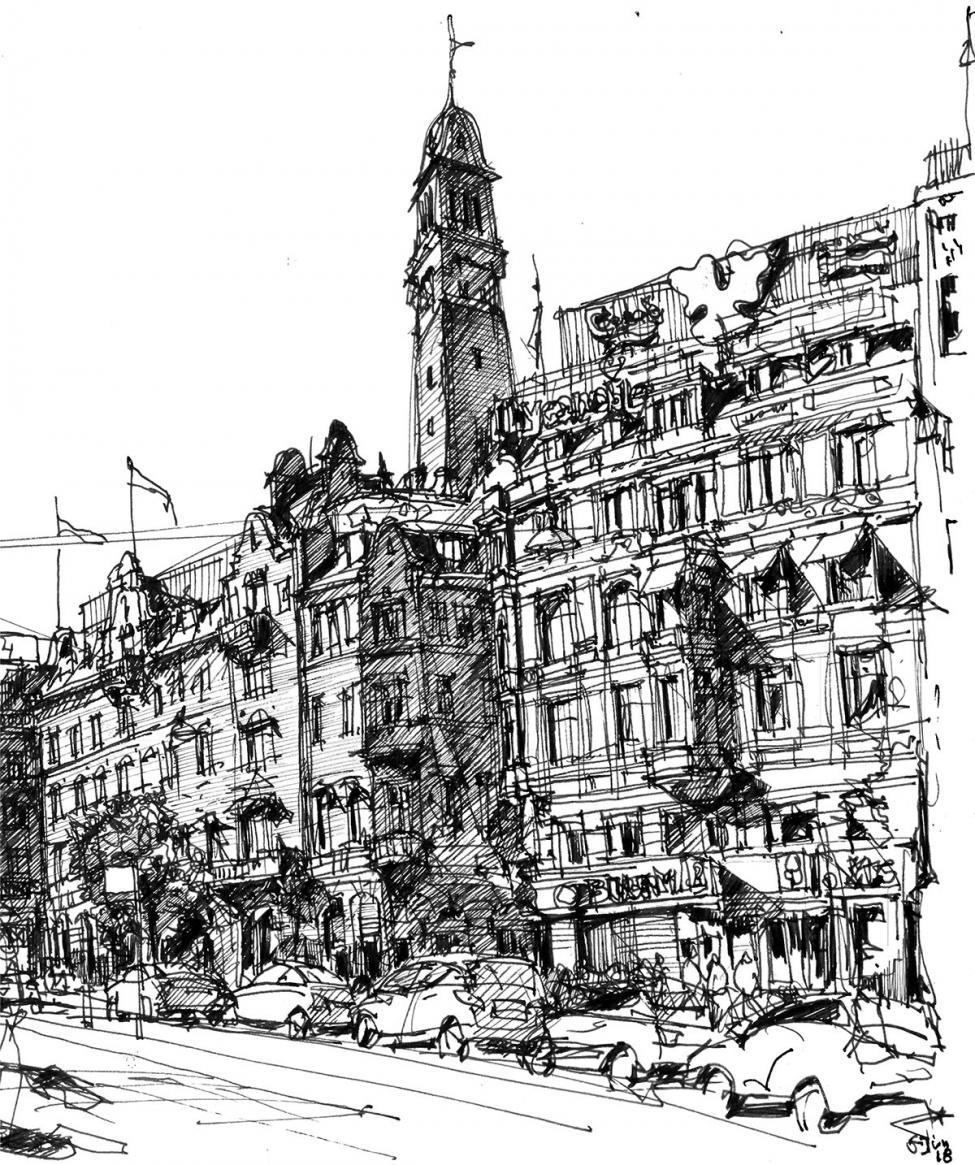 Rådhuspladsen tegning