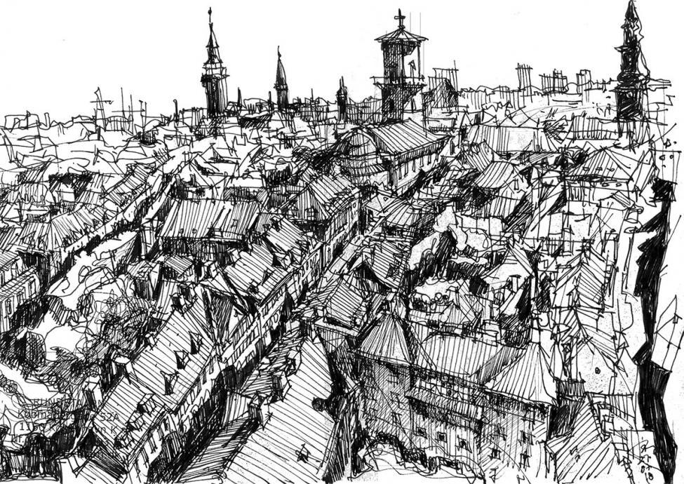 Rundetårn udsigt tegning Joao