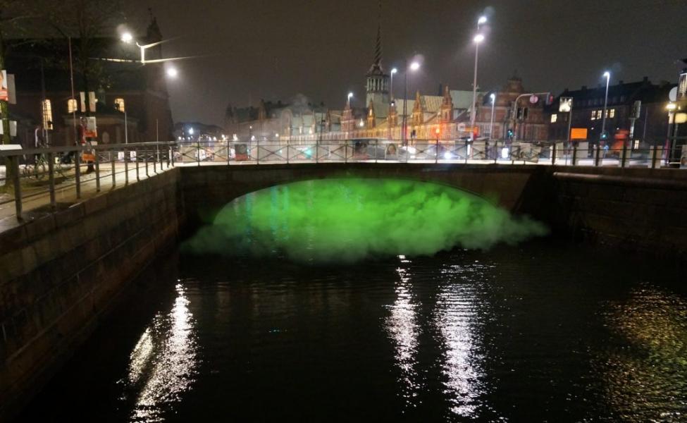 coloured smoke under bridges
