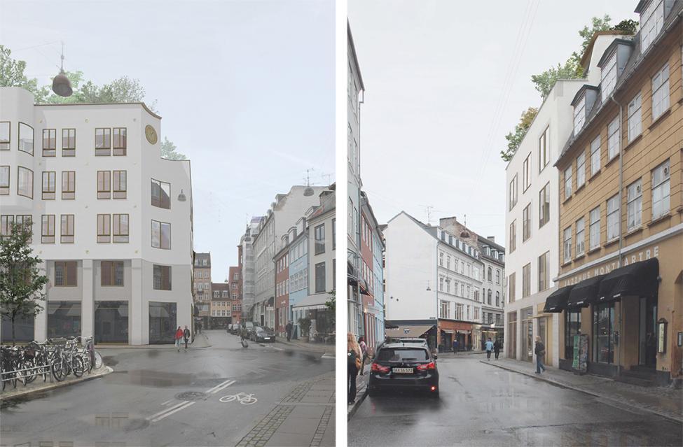 boligbyggeri i ny østergade set fra gammel mønt og gothersgade