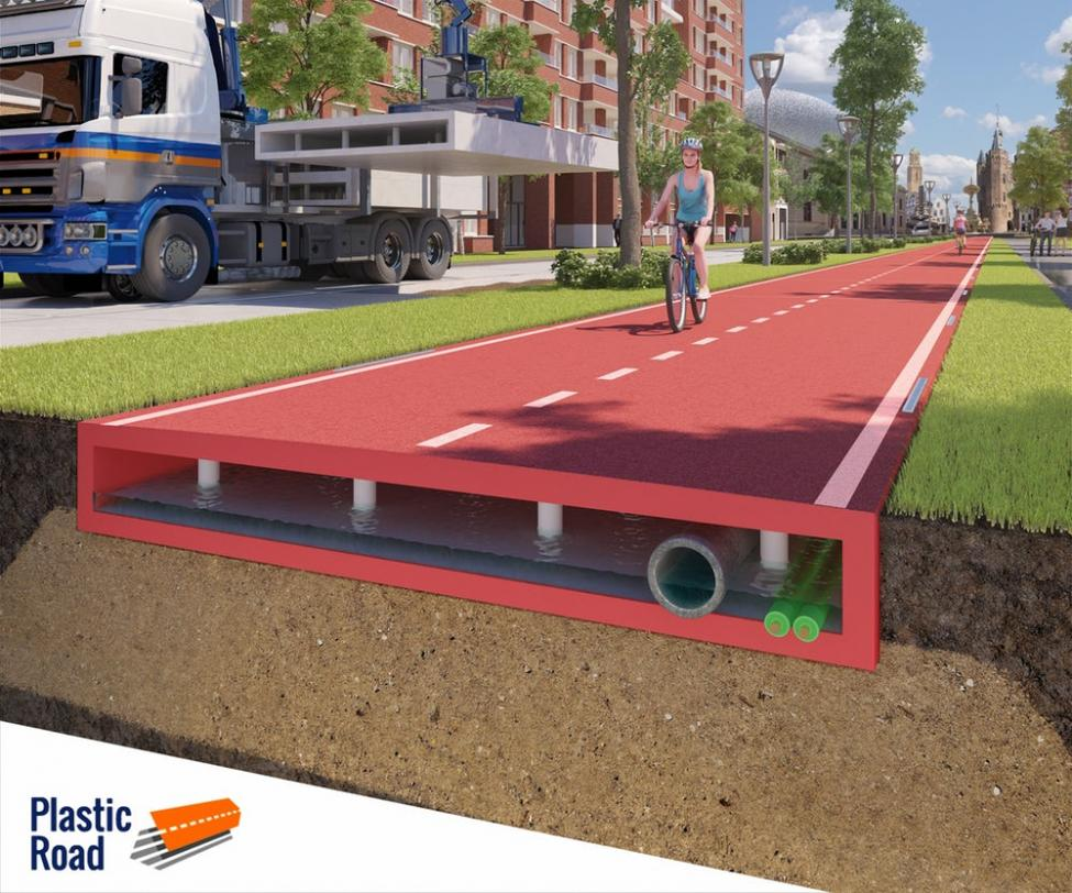 Platic Road Holland cyklist