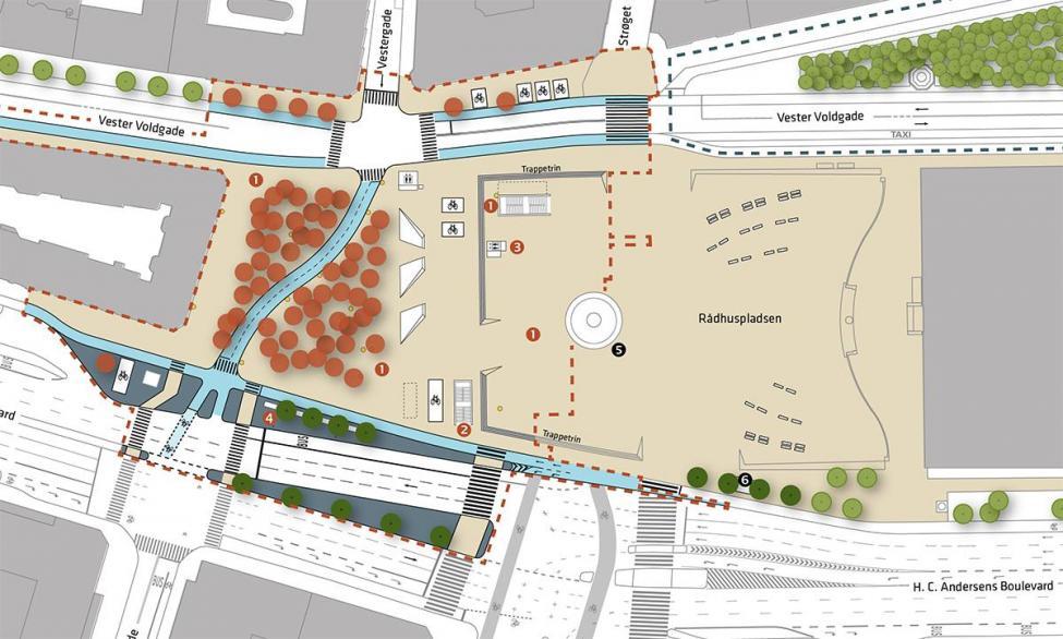 Plantegning Rådhuspladsen 2019 metro stationsforplads