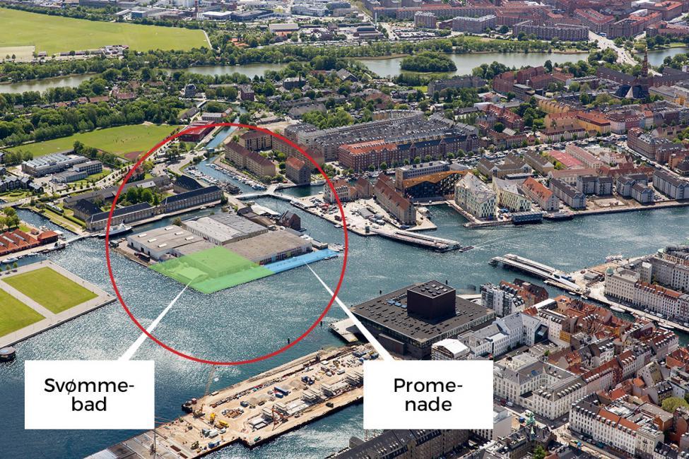 Christiansholm luftfoto svømmebad placering masterplan