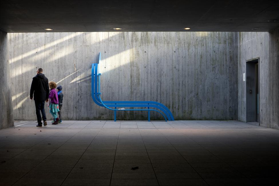 kastrup metrostation blue modified social bench