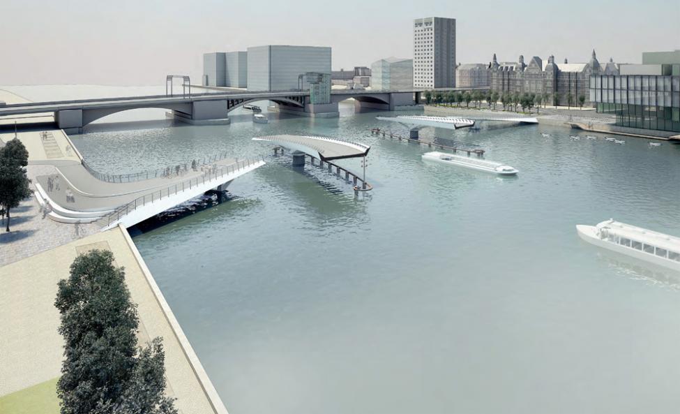 åben cykelbro langebro