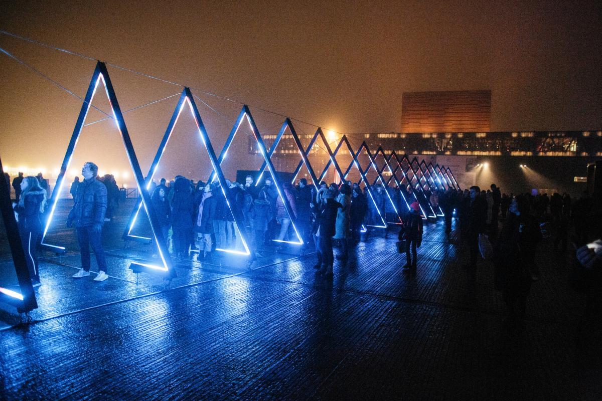 Kilometerlang Laserstråle Over Byens Tage Som Københavns