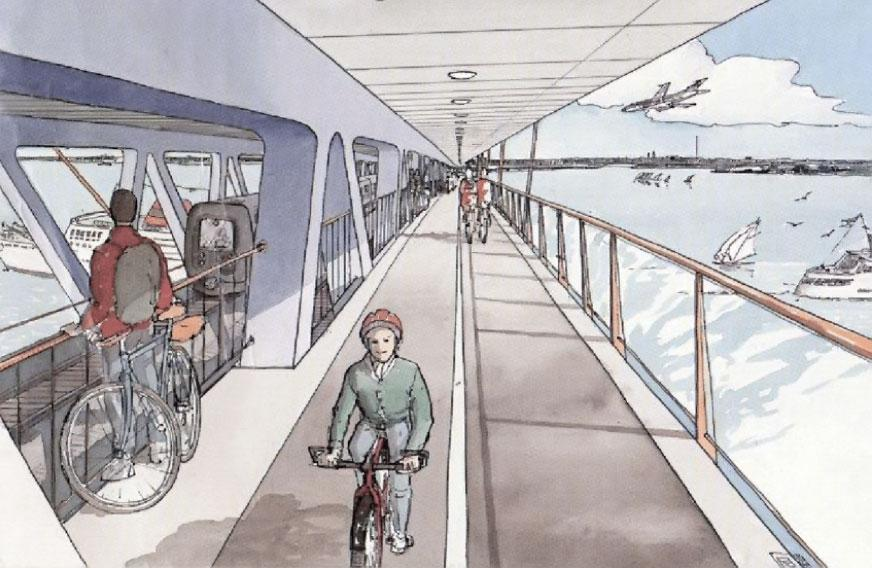 cykelsti øresundsbroen nederste dæk tog